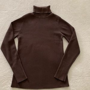 Old Navy Brown Ribbed Cotton Turtleneck Sweater L